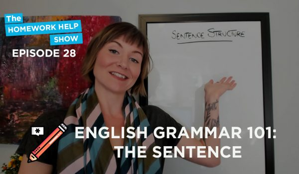 Cath Anne with whiteboard discussing English grammar and how to write the sentence