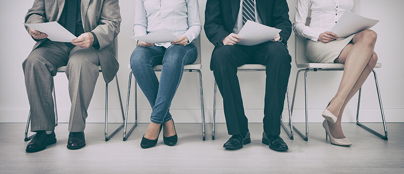 Applicants sitting and hoping for first interview success