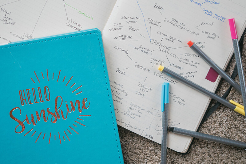 Student planner open to notes and writing lessons