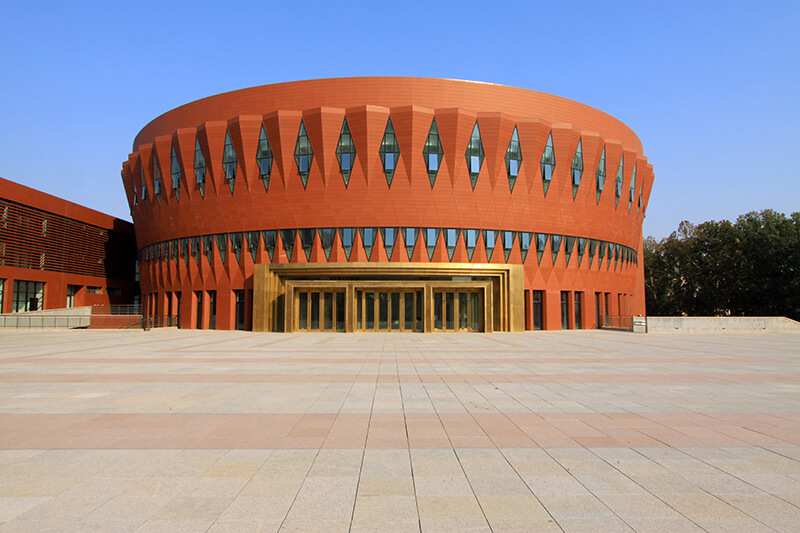 Modern orange building at Tsinghua University in Beijing, China