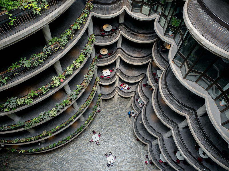 Interior aerial shot at the Hive building at Nanyang Technological University in Singapore