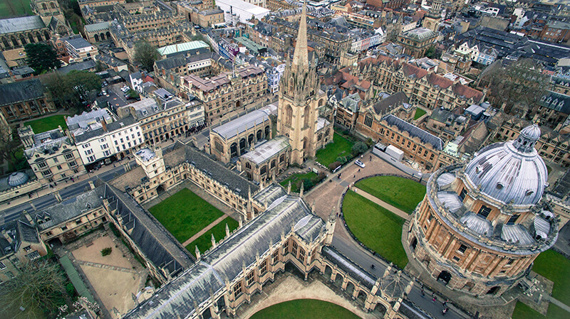Bird's eye view of the University of Oxford in England, United Kingdom