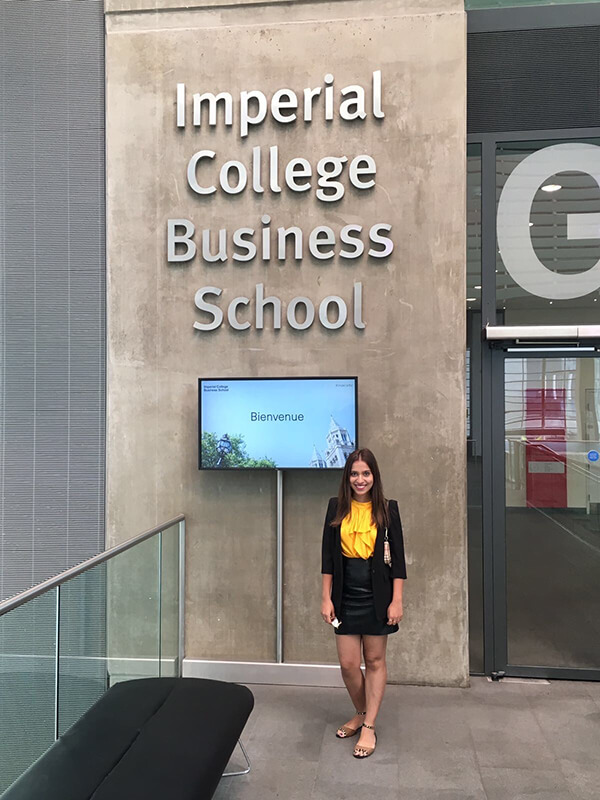 MBA student Mehar Sindhu Batra standing outside of the Imperial College Business School in London, England