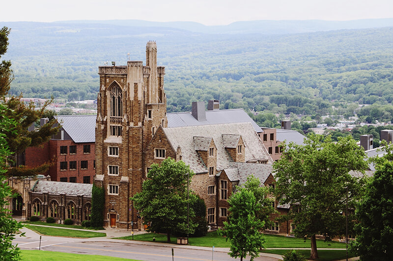 Building overlooking the hills at Cornell University in Ithaca, New York