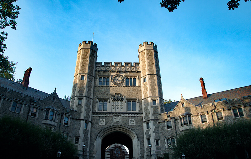 Exterior shot of architectural building at Princeton University in Princeton, New Jersey