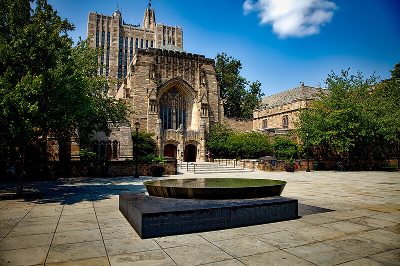 Front shot of the Sterling Memorial Library at Yale University in New Haven, Connecticut