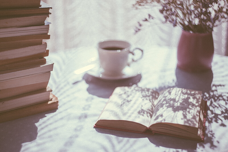 A book sitting on a coffee table filled with similes and allusion