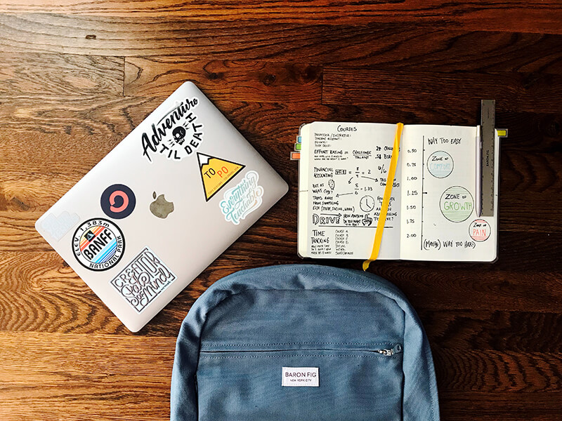 Aerial view of college essentials including a laptop and backpack